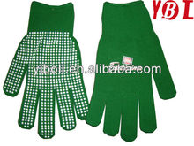 Magic colorful warm fashion style cotton knitted gloves with palm PVC wave dots