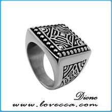 316L stainless steel black silver men vintage engagement ring 7-12mm