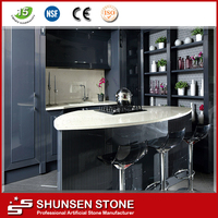 Modern polished crystal white engineered stone for desk top, bar tops QZ887