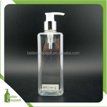 300ml plastic silver aluminium pump bottle PET liquid soap square bottle