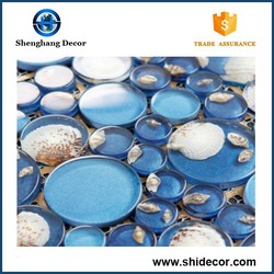 Swimming pool glass mosaic and glitter crystal round glass mosaic tile
