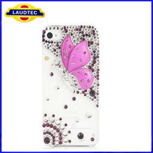 New Hot Fashion Purple crystal butterfly case for iphone4/4s diamond cell phone protection shell wholesale