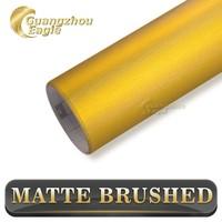 Brushed Gold Car Vinyl Wrap Material Matte Brushed Chrome
