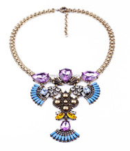 Turquoise Rectangle Resin Beads Big Purple Crystal Jeweled Statement Necklace Heavy