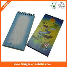 Double mental wire spiral memo pads, legal writing notes with logo printed paper