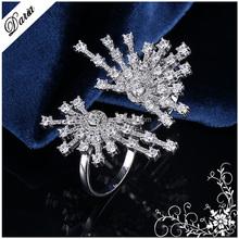 DLY Micro Pave Diamond Rings Double Finger, Proveedor 925 anillo de plata esterlina, anillo de diamante Proveedor