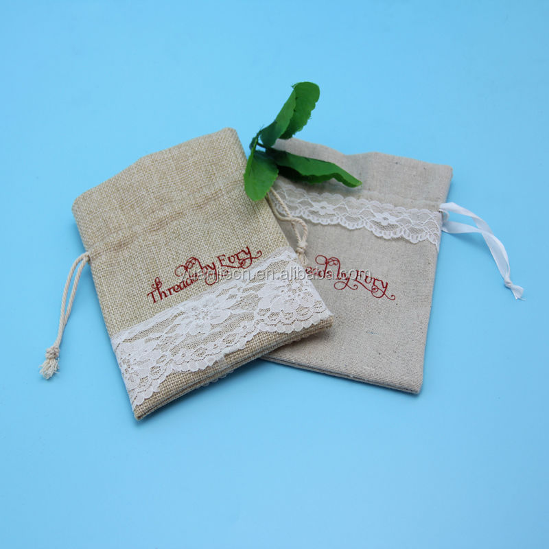 Fancy ecofriendly drawstring hessian bag for gift packing