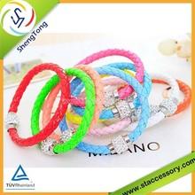 Hot sale good health bracelet bio magnetic leather bracelet