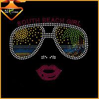Cool face with sunglasses hotfix rhinestone transfer