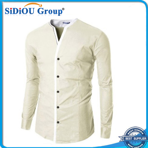 Mens French Cuff Dress Shirts No Collar Dress Shirt Fabric