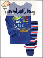 Little boats printing cotton pajamas children suits for 2-7 years old boys sleepwear