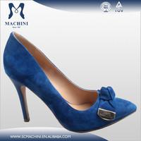 Sheep suede cut out heels navy blue women dress shoes
