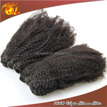 Wholesale afro kinky curly 100% indian remy human hair weave bulk extensions 100g for one pack