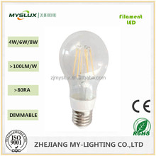 New design high brightness 4W 110V CE Standard hot sale in China market Dimmable LED filament lamp