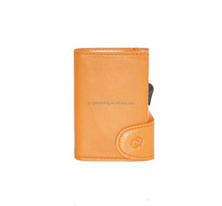 Good quality leather card holer not PU cardholder, aluminum orange