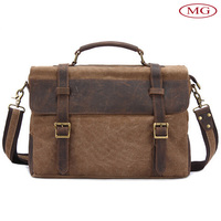 vintage luvury men's canvas genuine leather shoulder bag wholesale from factory