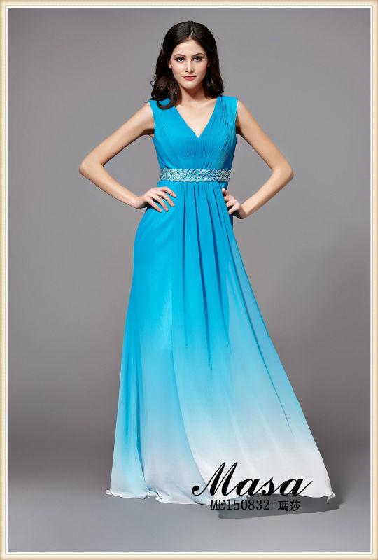 Cielo <span class=keywords><strong>azul</strong></span> vestido elegante y tranquilo de noche largo! Cinturón diamante único y ahuecar el diseño de la espalda del vestido de