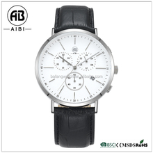 2015 top class customized logo stainless steel silver genuine leather men chronograph quartz watch