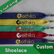 logo branded plain polyester blue ribbon shoe lace customized length