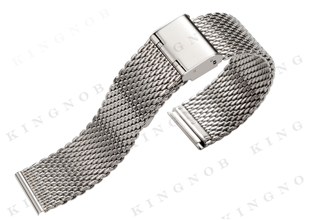 22 Mm Stainless Steel Bracelet Silver Metal Flat End Watch Band 1MM ...