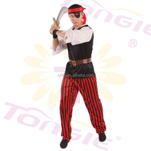 Wholesale cool fashion black men's sexy pirate costumes adult carnival costume in goood quality