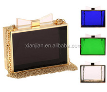 Online Colorful Acrylic Transparent Clutch with bow (CREB33)