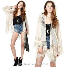 Gypsy Women Vintage Hippie Boho Kimono Cardigan Lace Crochet Tops Blouse