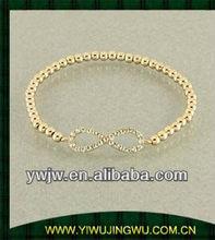 22k gold plated beads bracelet for infinity bangle
