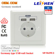 Euro usb wall socket with CE FCC RoHS Approval
