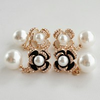 Fashion Crystal Rose Flower Earrings Shinning Pearl Women Earrigs Sample Free