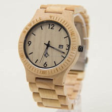 100% nature wood watch , bamboo wood watch , wooden wrist watch for mens with water resist