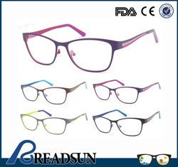 High Quality Stainless Steel Stylish three colors electroplate Teenager Eyewear Optical Frame