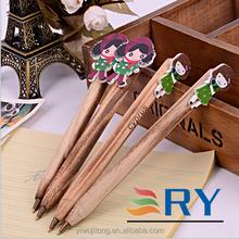 2015 new wooden cartoon girl ball pen for promotion