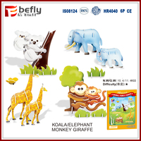 4 kinds cartoon 3d paper animal puzzle for sale