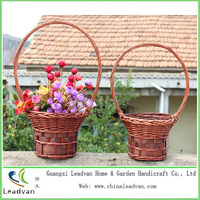 Natural woven wicker flower gift basket with handle & wicker gift fruit basket