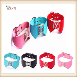 Good Quality Customize Lovely Cute BowKnot Color Diamond Pet Collar Dog Products
