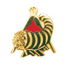 custom animal cornucopia masonic lapel pin