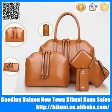 Women 4 pieces in a lot simple design purse leather shoulder ladies handbags clutches