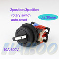 30mm de diámetro eléctrico 2/3 posición selector interruptor de botón interruptor giratorio momentánea cabeza redonda plana