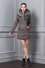 Russia Winter 2015 New Style Slim Woman PU Collar and Zipper Coat