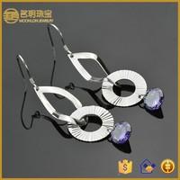 Korean new designs, purple cz diamond dangler earrings fashion women jewelry