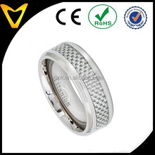 Wholesale Fashion Jewelry Rings Wedding Bands, Titanium Ring 8MM with High Polished Light Grey Carbon Fiber Inlay Beveled Edge