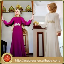 ATE07 Hot Selling High Collar Long Sleeve Lady Gowns Lace Appliqued Chiffon Muslim Evening Dresses with Hijab