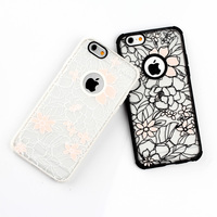 New Hot Sell Cover Protector For iPhone 5 5S 5C 6 6PLUS Glow White Pink flower TPU+PC Skin Back Case