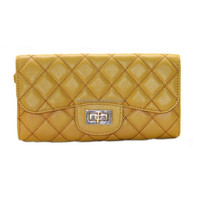 OEM and ODM acceptable fashion yellow real leather evening purse for lady