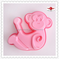 Cute Design Prink Monkey Shape Decorating Mold Silicone Cake Mould Tools