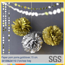 Metallic gold /silver DIY tissue paper pom pom for wedding /anniversary /new years eve decorations