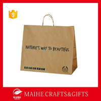 2015 China Printed Brown Kraft Paper Bag For Clothing,Luxury Shopping Paper Bag Logo Printed,Recycle Paper Bag