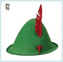 Oktoberfest Bavarian German Green Alpine Felt Hats with Feather HPC-2614