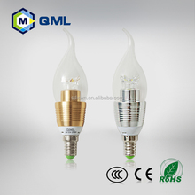 gold or silver color COB led candle light 3w 4w 5w